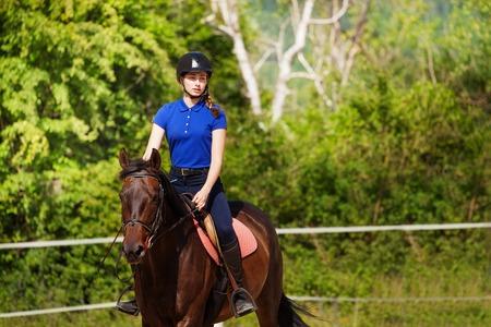 쇼 점프 말과 horsewoman의 초상화