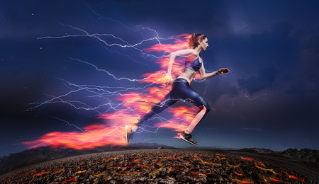Woman running fast against stormy sky with flash Stock Photo - 89699343