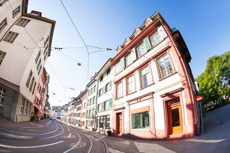 Basel streets with tram tracks, shops and houses