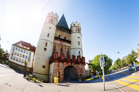 Spalentor gate in the ancient city walls of Basel Фото со стока