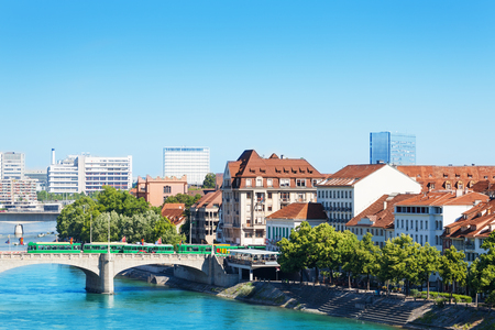 Cityscape of Basel and Middle bridge over Rhine 스톡 콘텐츠