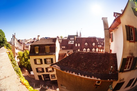 Top view of Basel streets and ancient buildings