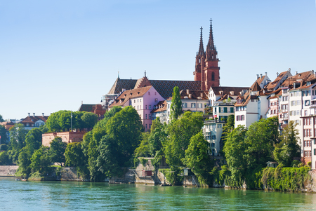 Rhine waterfront with Basel Minster, Switzerland Stock Photo