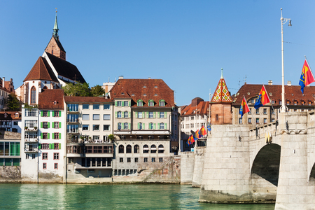 Scenic view of Basel waterfront and Middle Bridge Stock Photo