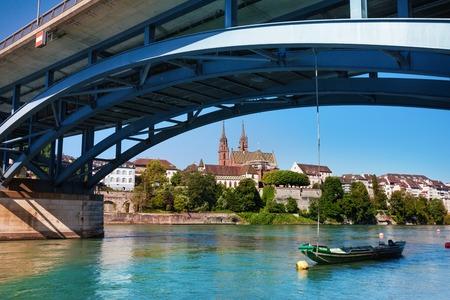 Waterfront of Rhine and Wettstein Bridge in Basel Stock Photo