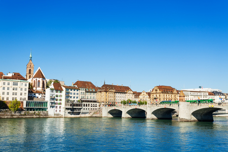 Scenic view of Basel with Middle Bridge in summer Stock Photo