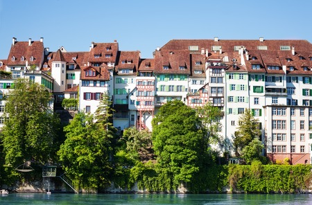 Architecture of Basel waterfront at sunny day Banco de Imagens