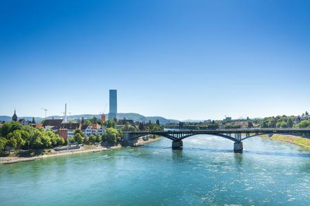 Rhine river with Wettstein bridge in Basel Stock Photo
