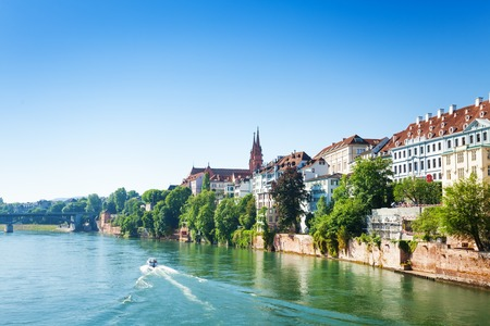 View of Basel from Rhine river in Switzerland