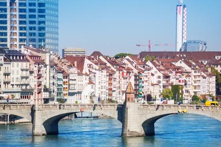 Cityscape of Basel with arched Middle bridge Stock Photo