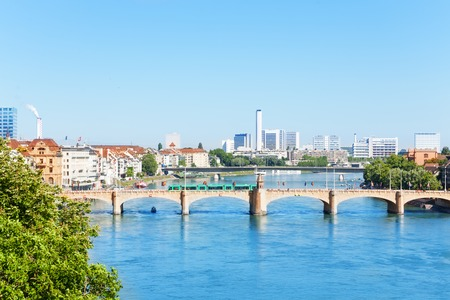 Rhine river and panorama of Basel at sunny day Stock Photo