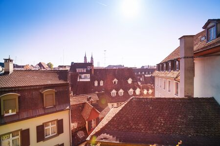 Top view of old city rooftops, Basel, Switzerland
