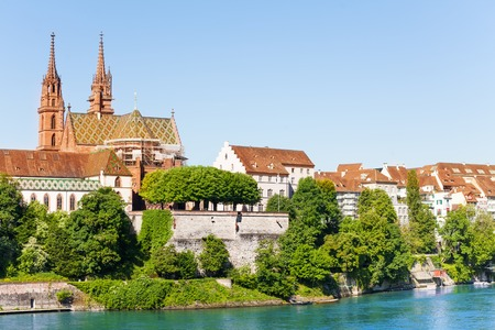 Basel with Minster cathedral on the Rhine river