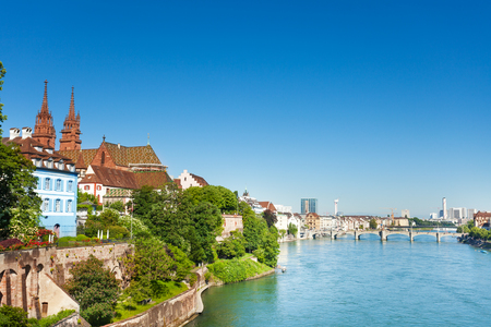 Beautiful cityscape of Swiss Basel at sunny day Banco de Imagens