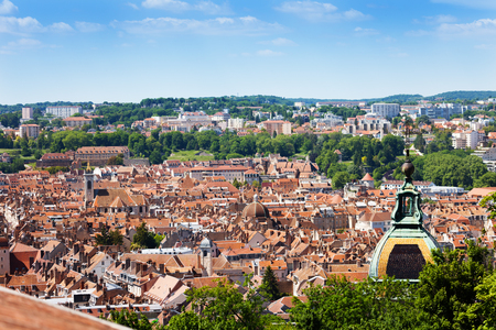 Besancon cityscape with St. Jean Cathedral dome Stock Photo - 94420050