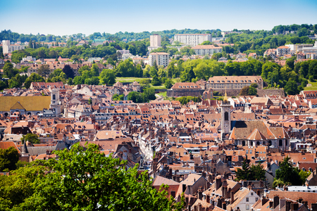 Besancon cityscape with tiled roofs of old houses Stock Photo - 95921588
