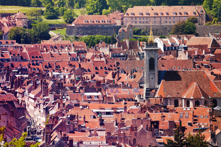 Aerial view of Besancon old city at sunny day