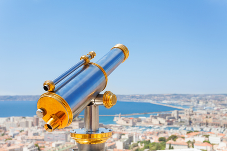 Telescope overlooking beautiful Marseille scenery