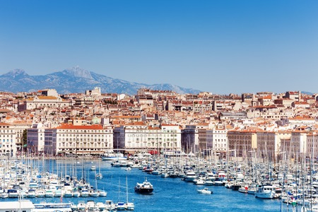 Summer view of the Old port in Marseille, France