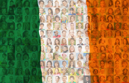 Ireland flag with many face portraits on background of different looking and age diverse citizens