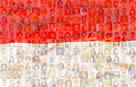 Poland flag with many face portraits on background of different looking and age diverse citizens