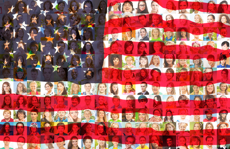 USA flag with many face portraits on background of different looking and age diverse citizens