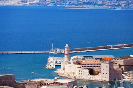 Beautiful view of the Old Port and Fort Saint Jean, Marseille, France