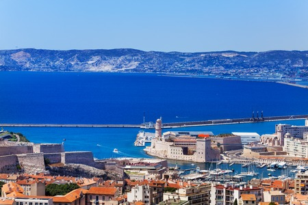 Panoramic view of the Old Port and Fort Saint Jean, Marseille, France 写真素材
