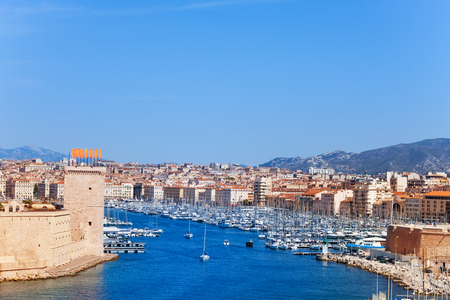 Panoramic view of old Vieux port and Marseille coastline in France at sunny day