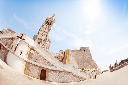 Basilica Notre Dame de la Garde against blue sky 写真素材 - 97968084