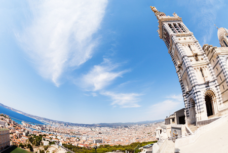 Notre-Dame de la Garde overlooking Marseille Stock Photo