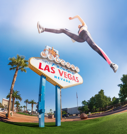 Sporty woman jumping high in Las Vegas