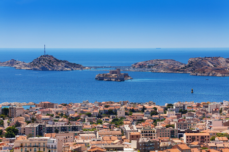 Marseille and If castle at Frioul archipelago