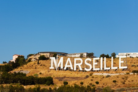 Marseille landscape and its sign in white letters