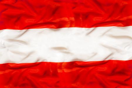 Austria national flag with waving fabric