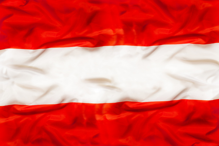 Austria national flag with waving fabric