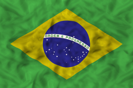 Brazil national flag with waving fabric Stock Photo
