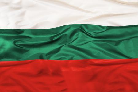 手を振る生地を持つブルガリアの国旗 写真素材