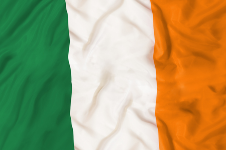 Ireland national flag with waving fabric Foto de archivo - 99626236