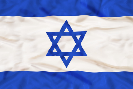 Israel national flag with waving fabric