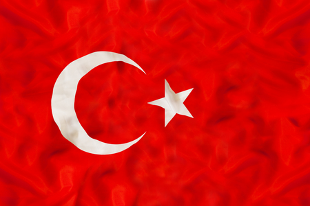 Turkey national flag with waving fabric