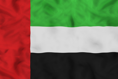 UAE national flag with waving fabric Imagens