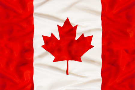 Canada national flag with waving fabric