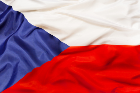 Czech Republic national flag with waving fabric