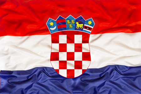 Croatia national flag with waving fabric
