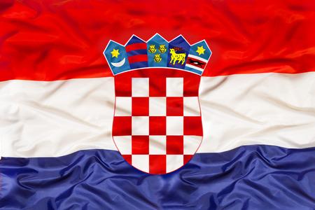 Croatia national flag with waving fabric