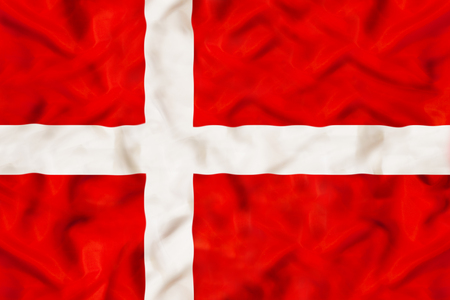 Denmark national flag with waving fabric