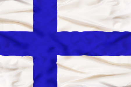 Finland national flag with waving fabric