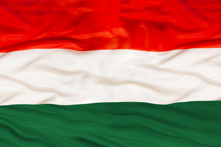Hungary national flag with waving fabric