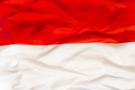 Poland national flag with waving fabric